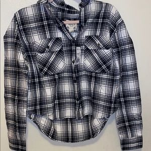 Plaid high low button up